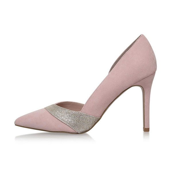 4 inch Heels Pink Pointed Toe Glitter Stiletto Heels Pumps image 4