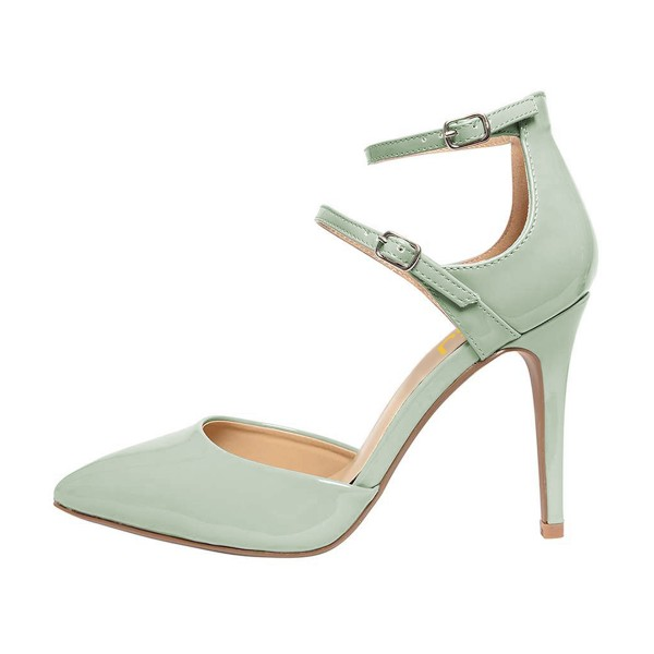Women's Light Green Pointed Toe Ankle Trap Heels Pumps image 4