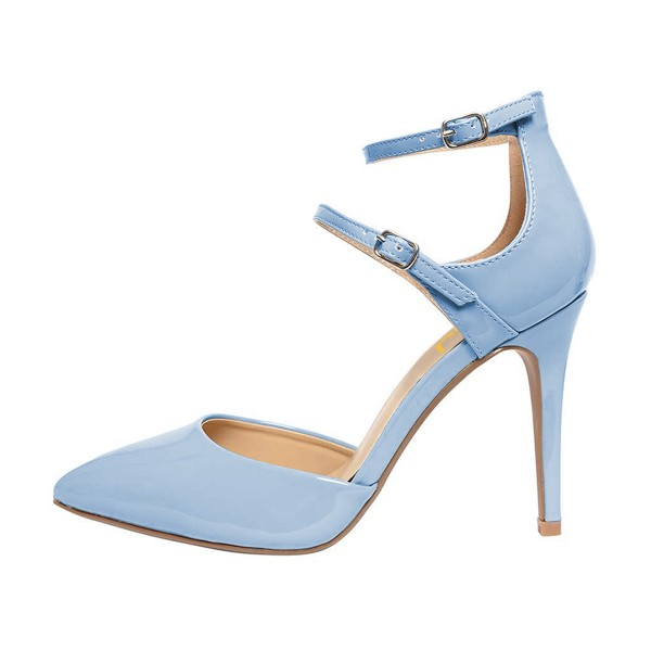 Light Blue Closed Toe Sandals Ankle Strap Stiletto Heels Shoes image 4