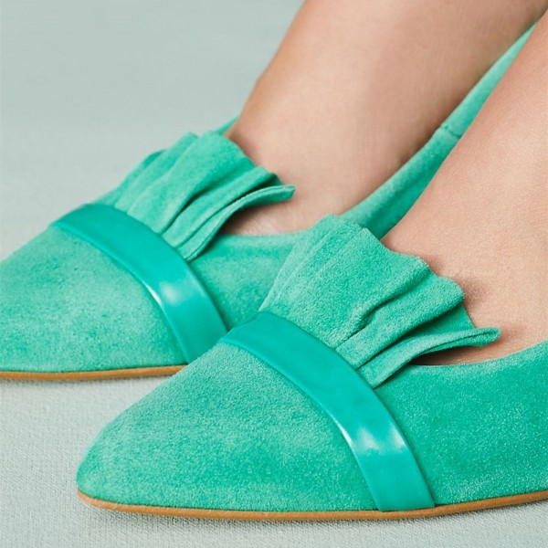 Turqouise Kitten Heels Pointy Toe Suede Comfortable Shoes image 2