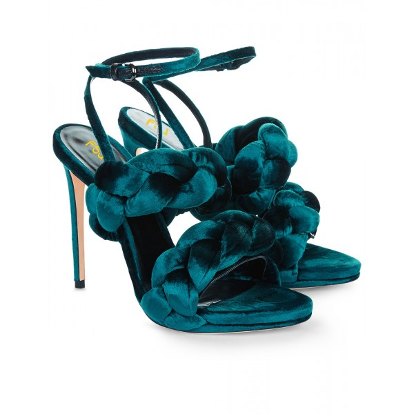 Teal Shoes Ankle Strap Stiletto Heel Velvet Sandals for Prom image 4