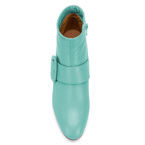 Turquoise Buckle Block Heel Ankle Booties image 2