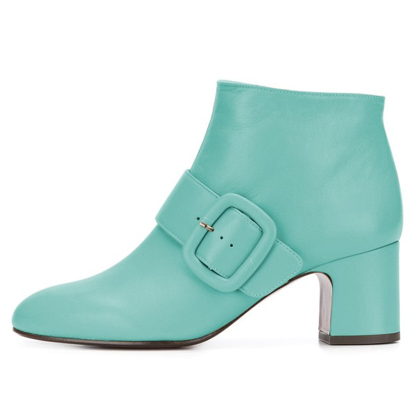 Turquoise Buckle Block Heel Ankle Booties image 3