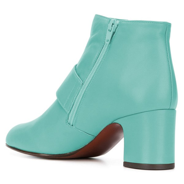 Turquoise Buckle Block Heel Ankle Booties image 4