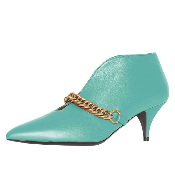 Turquoise Chains Cone Heel Kitten Heel Fashion Boots image 1