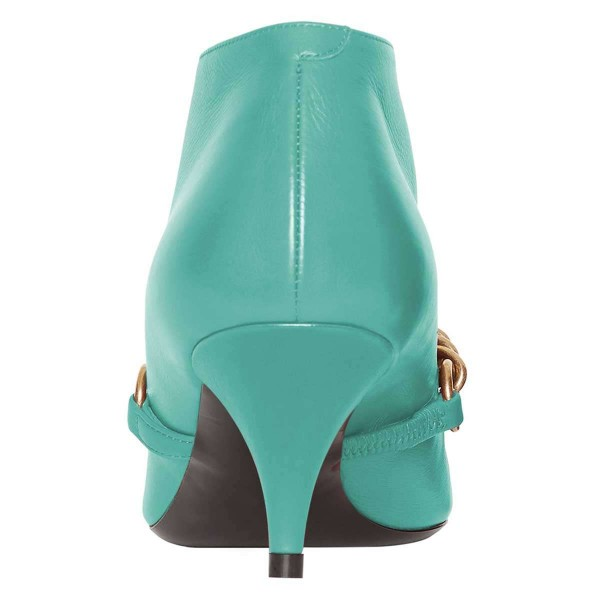 Turquoise Chains Cone Heel Kitten Heel Fashion Boots image 3