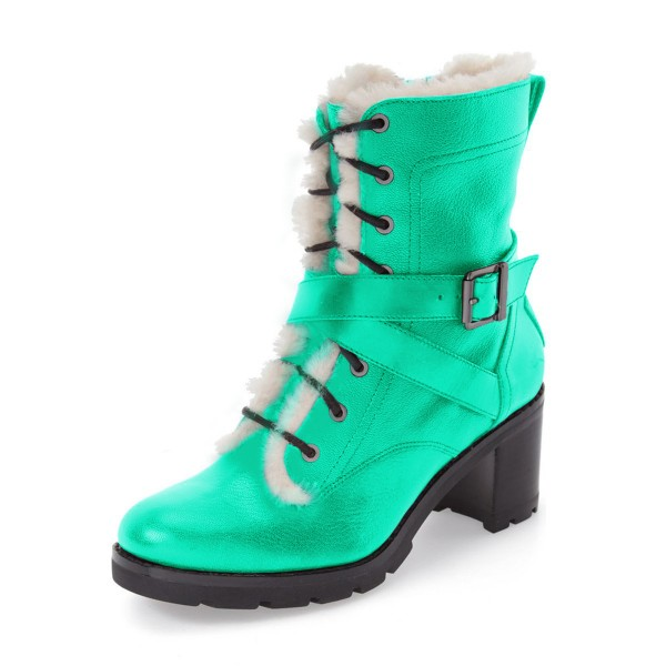 Turquoise Combat Boots Lace up Chunky Heels for Winter image 1