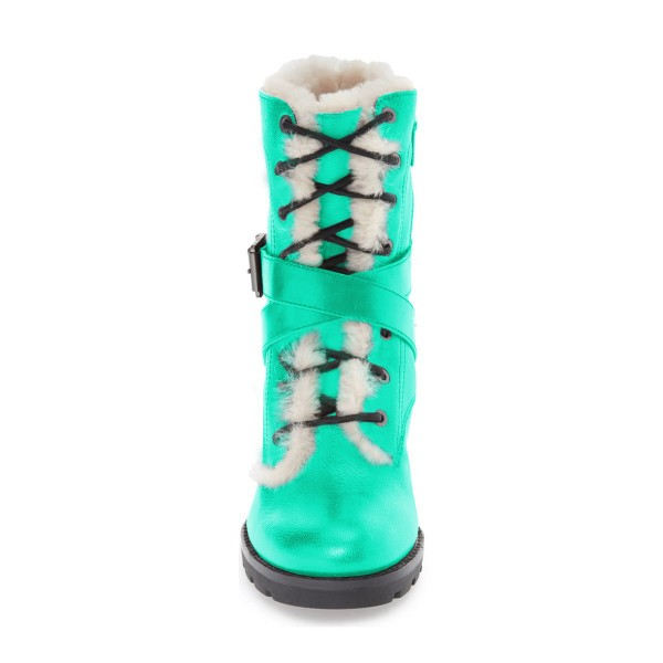 Turquoise Combat Boots Lace up Chunky Heels for Winter image 2