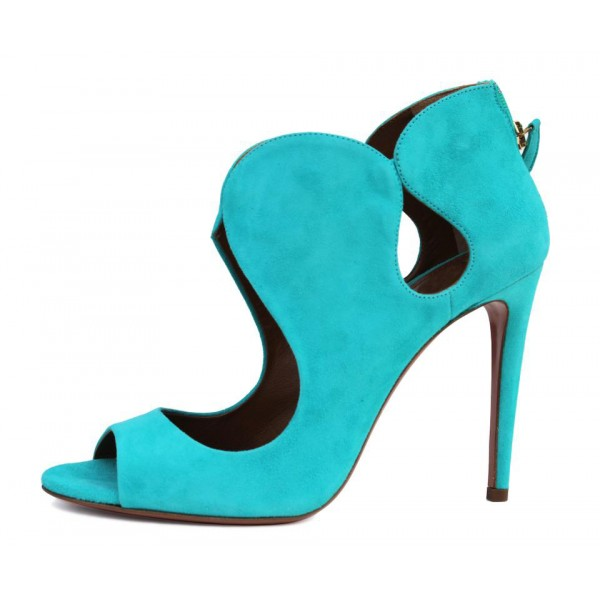 Women's Cyan Stiletto Heels Dress Shoes Peep Toe Heels Sandals image 2