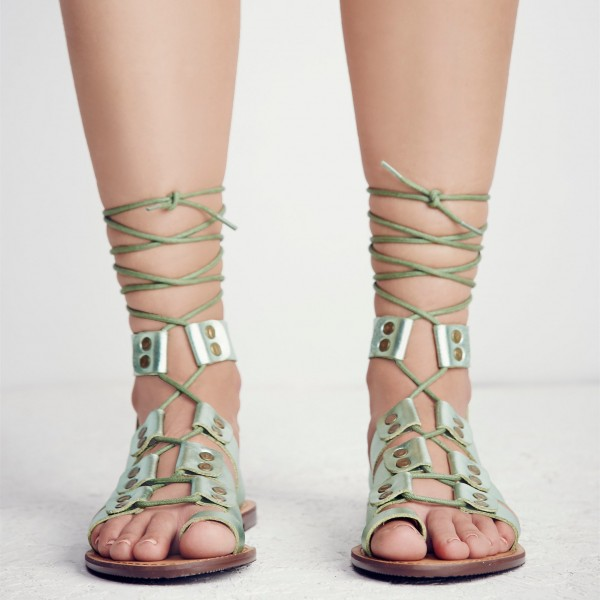 Women's Green Open Toe Strappy Flat Gladiator Sandals image 3