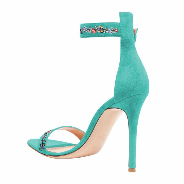 Women's Turquoise Flower Stiletto Heel Ankle Strap Sandals  image 2