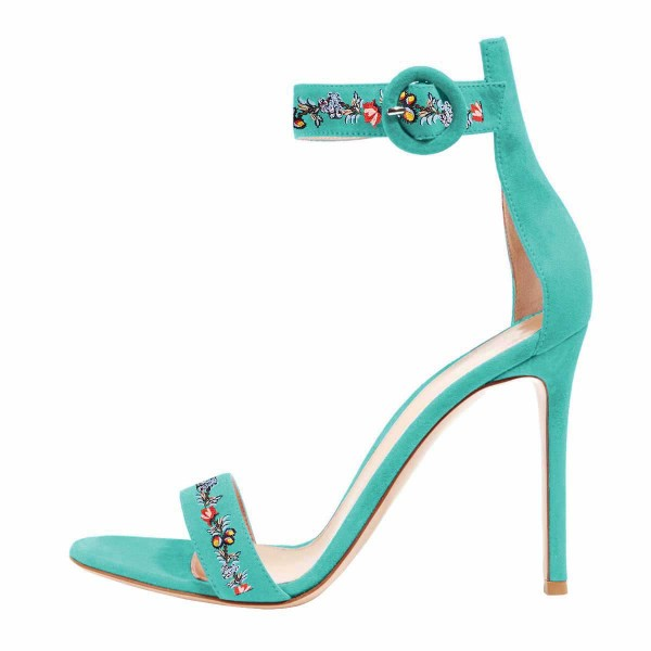 Women's Turquoise Flower Stiletto Heel Ankle Strap Sandals  image 3