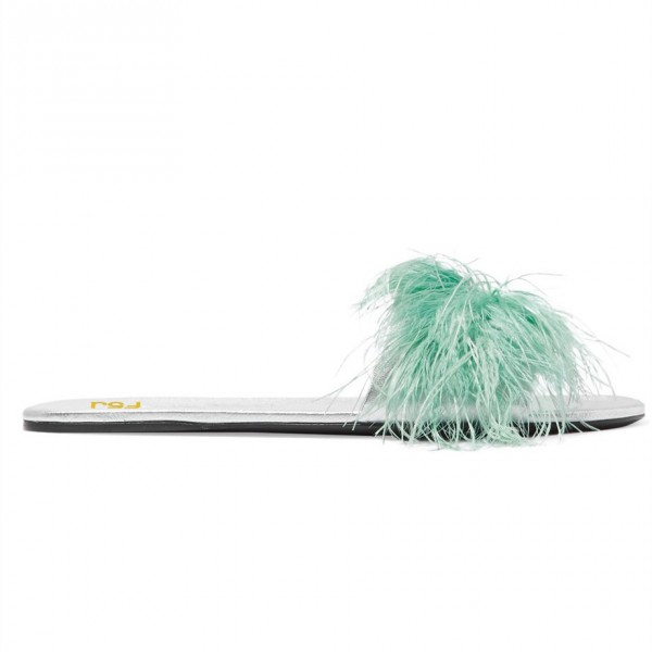 Turquoise Women's Slide Sandals Open Toe Furry Flat Sandals image 4