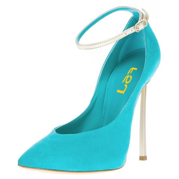 Turquoise Heels Ankle Strap Suede Stiletto Heel Pumps for Office Lady image 1
