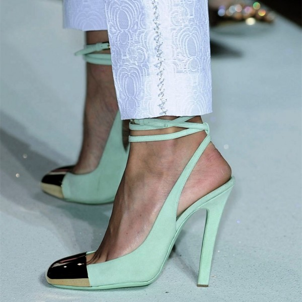 Turquoise Heels Slingback Pumps Strappy Chunky Heels with Metal Toe image 3