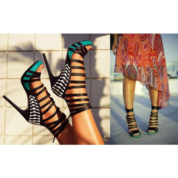 Women's Turquoise and Black Stiletto Heels Open Toe Platform Strappy Sandals image 4