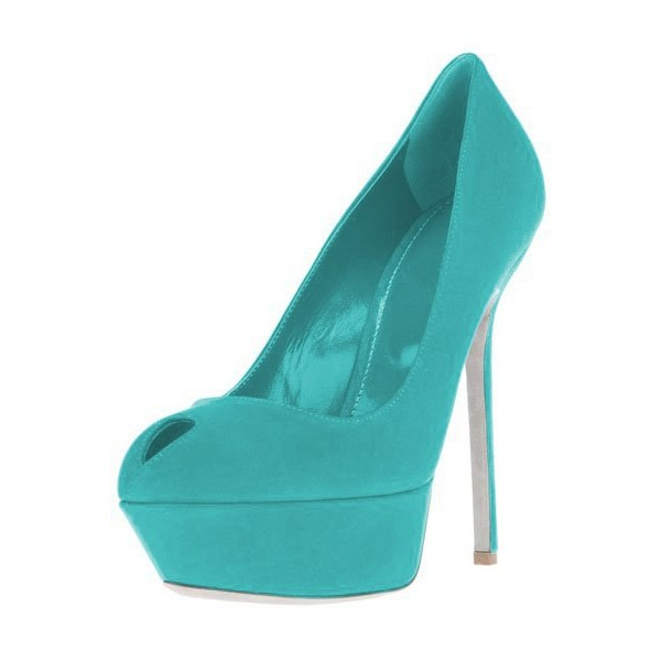 Turquoise Heels Suede Shoes Stiletto Heel Platform Pumps for Women image 1