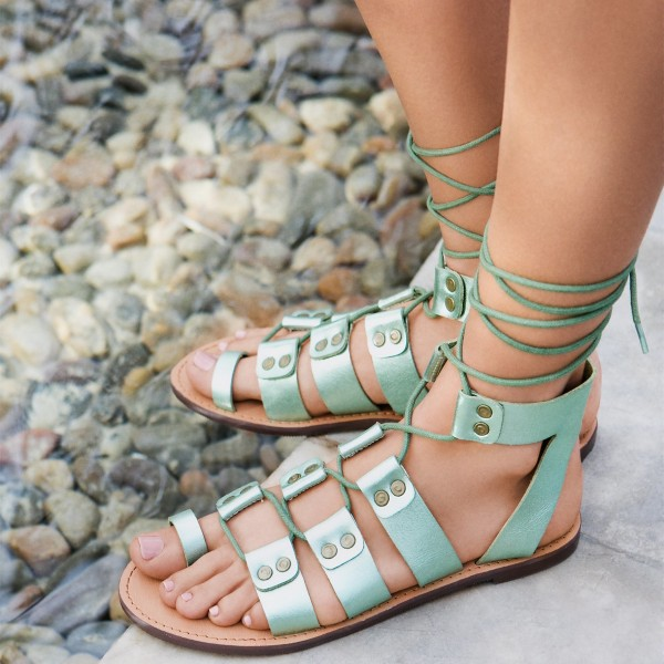 Women's Green Open Toe Strappy Flat Gladiator Sandals image 1