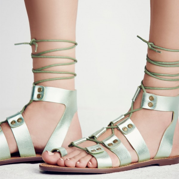 Women's Green Open Toe Strappy Flat Gladiator Sandals image 4