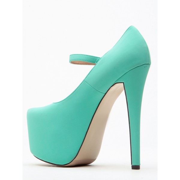 Turquoise Mary Jane Pumps Platform High Heel Shoes image 4