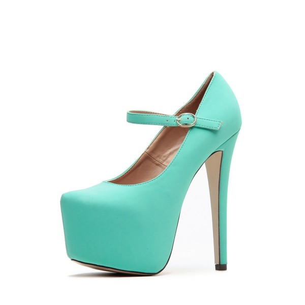 Turquoise Mary Jane Pumps Platform High Heel Shoes image 1