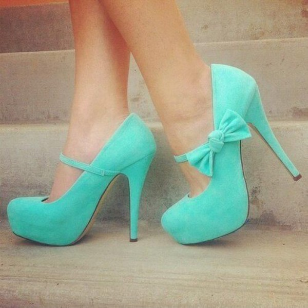 Turquoise Mary Jane Pumps Suede Platform Heels with Bow image 1