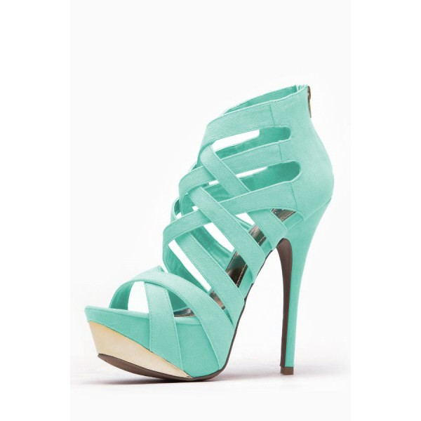 Women's Cyan Open Toe Back Zipper Hollow Out Stiletto Heels Sandals image 2
