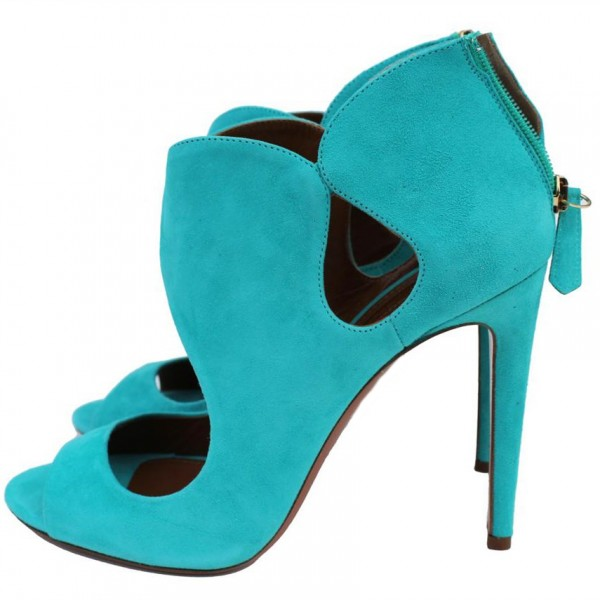Women's Cyan Stiletto Heels Dress Shoes Peep Toe Heels Sandals image 3