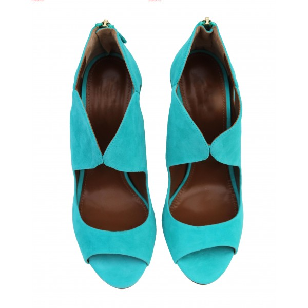 Women's Cyan Stiletto Heels Dress Shoes Peep Toe Heels Sandals image 5