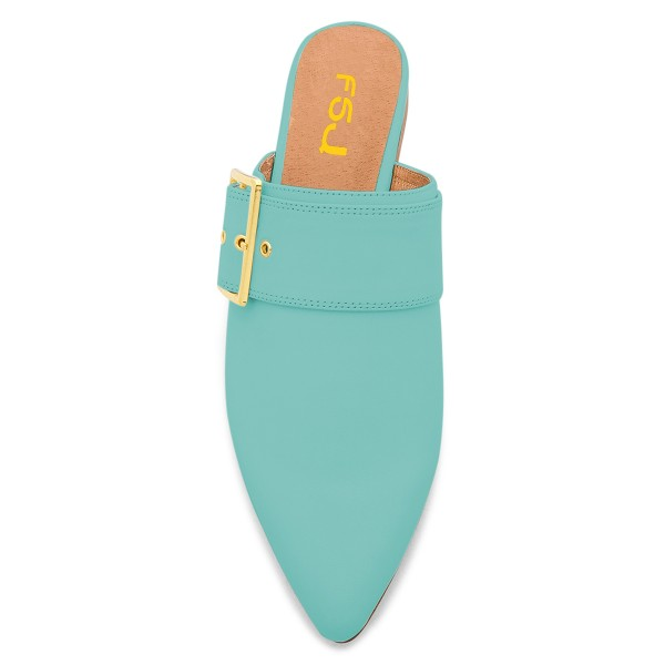 Cyan Pointy Toe Flats Buckle Mules Comfortable Loafers for Women image 2