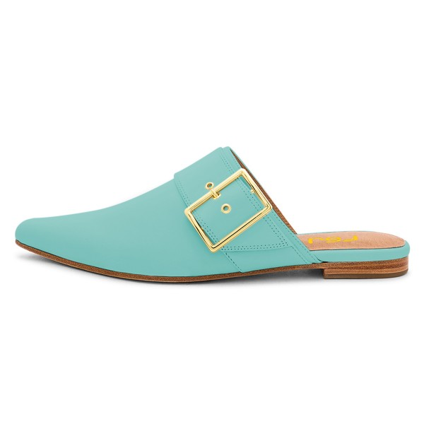 Cyan Pointy Toe Flats Buckle Mules Comfortable Loafers for Women image 3