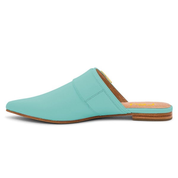 Cyan Pointy Toe Flats Buckle Mules Comfortable Loafers for Women image 4
