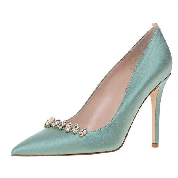 Turquoise Rhinestone Heels Satin Pumps Pointy Toe Wedding Shoes image 1