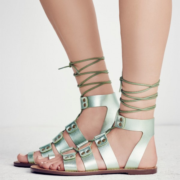 Women's Green Open Toe Strappy Flat Gladiator Sandals image 2