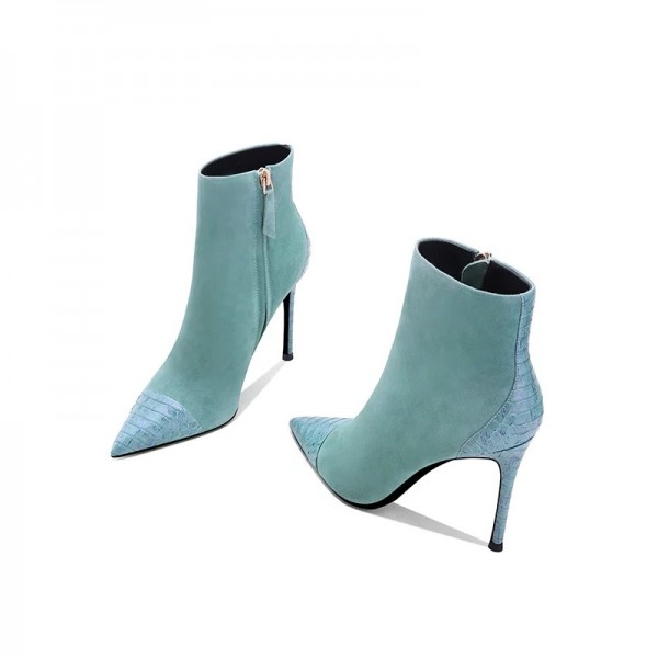 Turquoise Suede Boots Stiletto Heel Pointy Toe Ankle Boots image 2