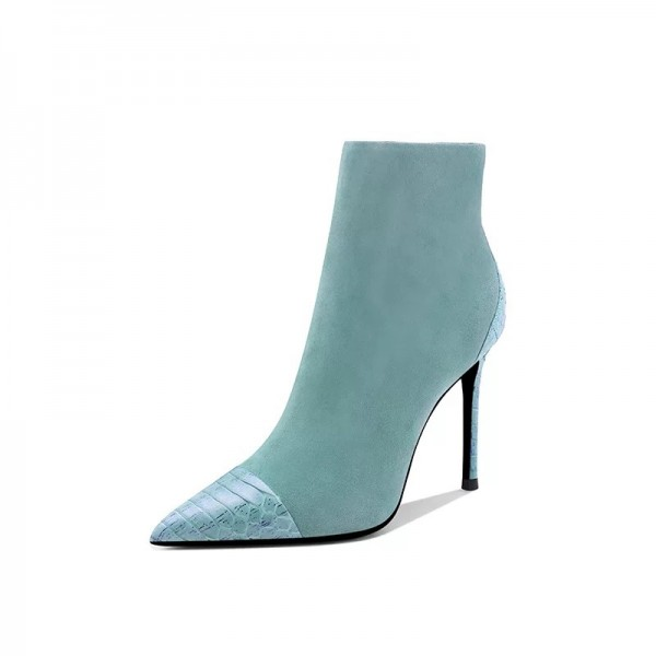 Turquoise Suede Boots Stiletto Heel Pointy Toe Ankle Boots image 3