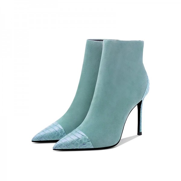 Turquoise Suede Boots Stiletto Heel Pointy Toe Ankle Boots image 1