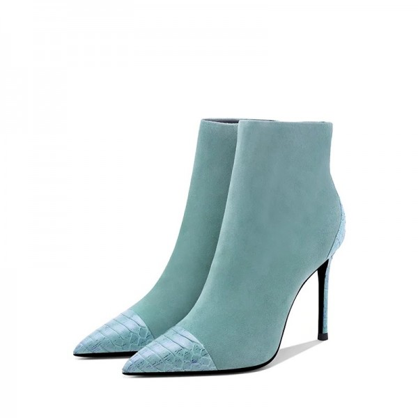 Turquoise Suede Boots Stiletto Heel Pointy Toe Ankle Boots image 4