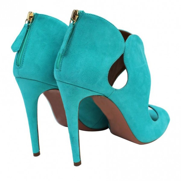 Women's Cyan Stiletto Heels Dress Shoes Peep Toe Heels Sandals image 4