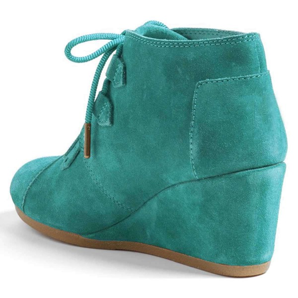 Turquoise Suede Lace Up Wedge Booties image 3