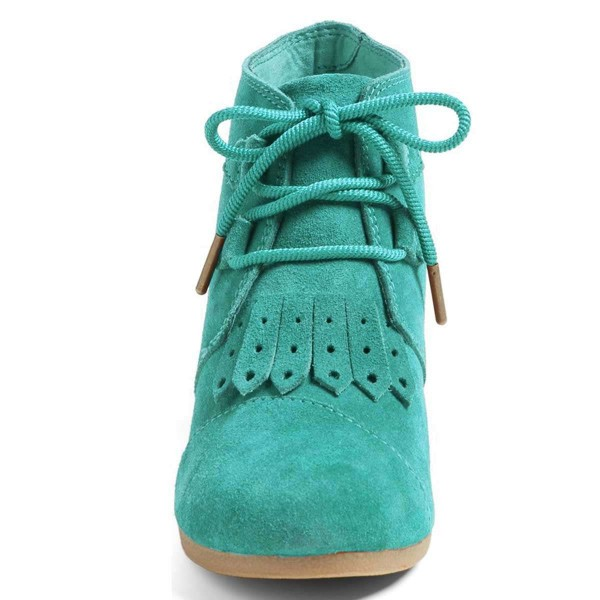 Turquoise Suede Lace Up Wedge Booties image 2