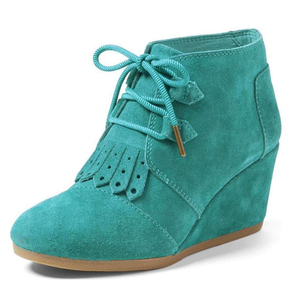 Turquoise Suede Lace Up Wedge Booties image 1
