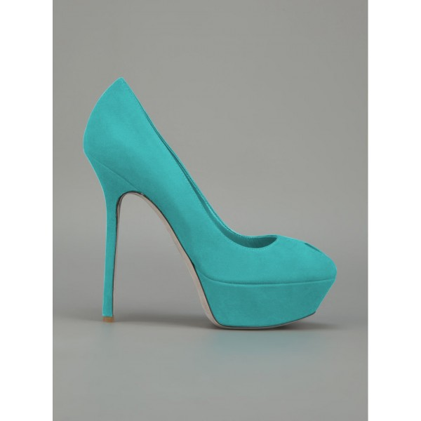 Turquoise Heels Suede Shoes Stiletto Heel Platform Pumps for Women image 3