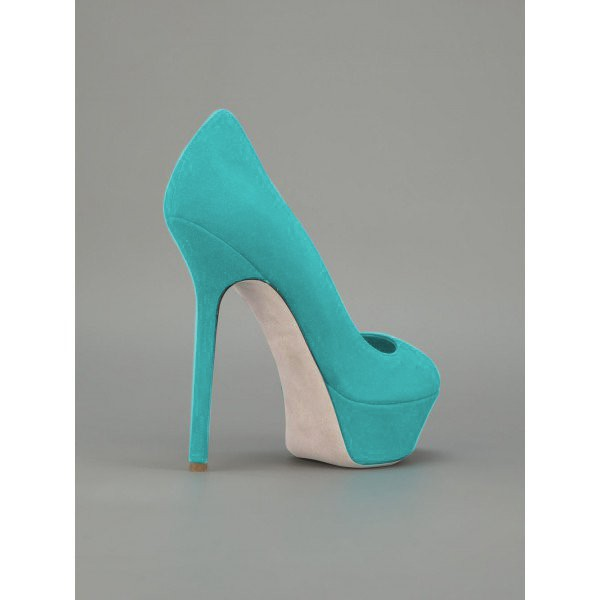 Turquoise Heels Suede Shoes Stiletto Heel Platform Pumps for Women image 2