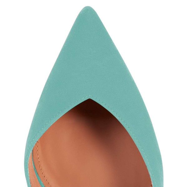Turquoise Suede Pointy Toe Studs Mules image 3