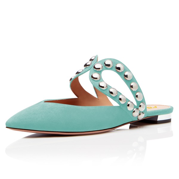 Turquoise Suede Pointy Toe Studs Mules image 1