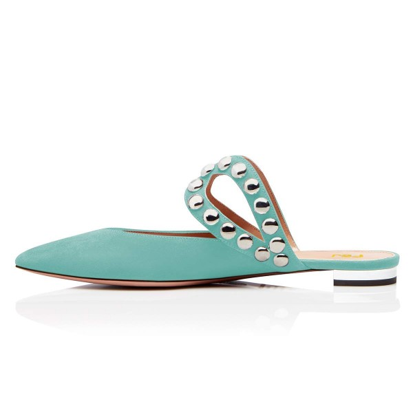 Turquoise Suede Pointy Toe Studs Mules image 2