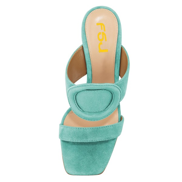 Turquoise Suede Square Toe Chunky Heel Mule Sandals image 3