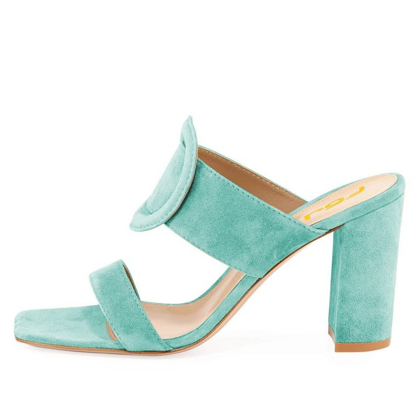 Turquoise Suede Square Toe Chunky Heel Mule Sandals image 2