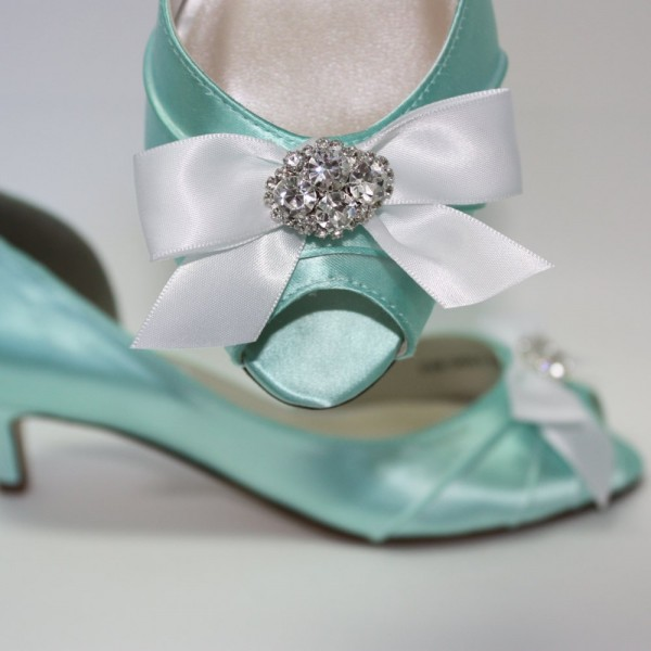 Women's Turquoise Wedding Shoes Satin Rhinestone Bow Kitten Heels Pumps image 1